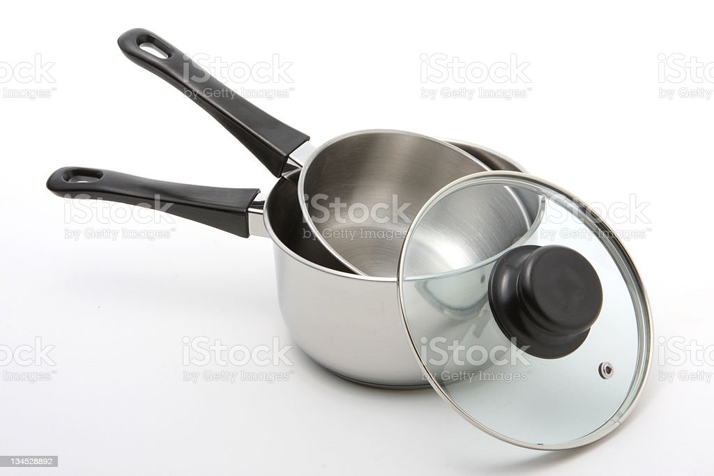 Stainless Steel Saucepans royalty-free stock photo