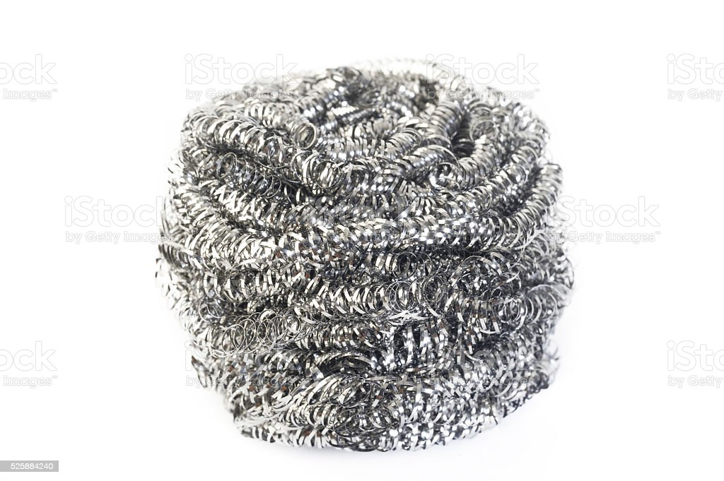 stainless steel scourer on white background stock photo