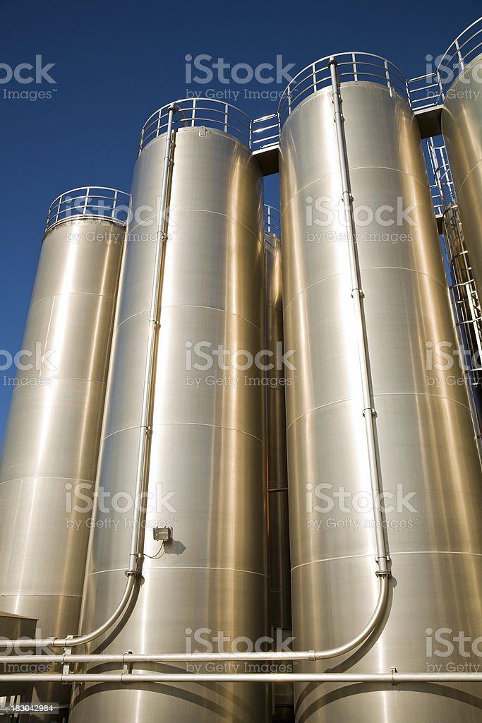 Stainless steel silo stock photo