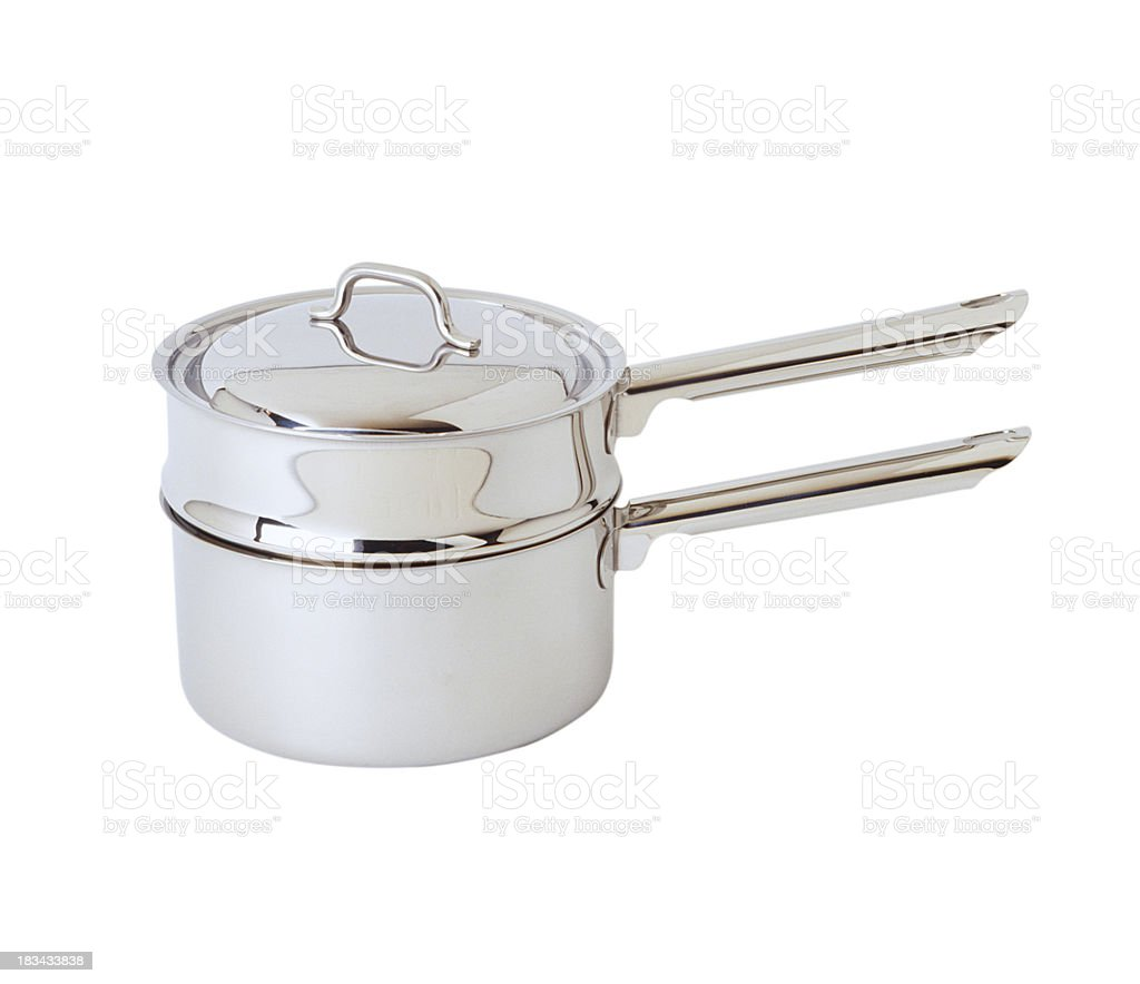 Stainless steel steaming pot stock photo