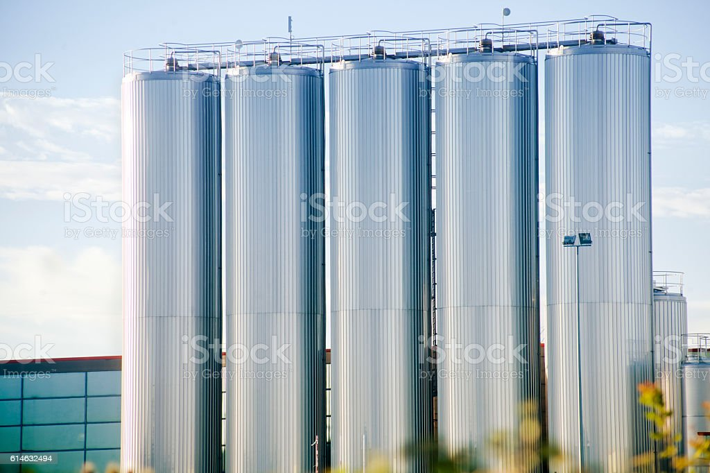 Stainless Steel storage tanks, dairy factory. stock photo