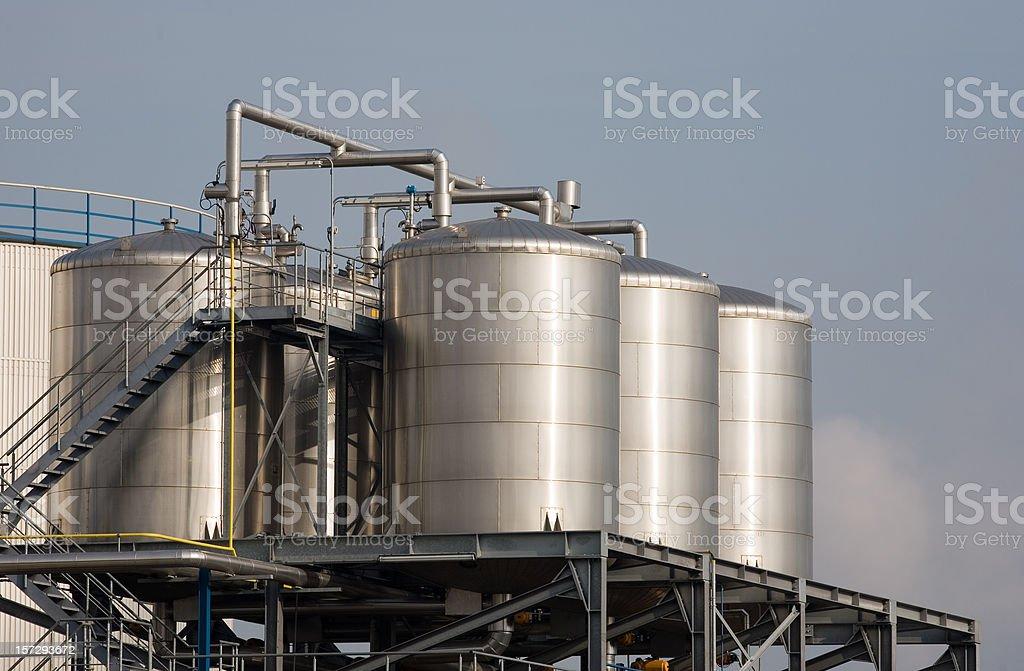 Stainless steel storage tanks royalty-free stock photo