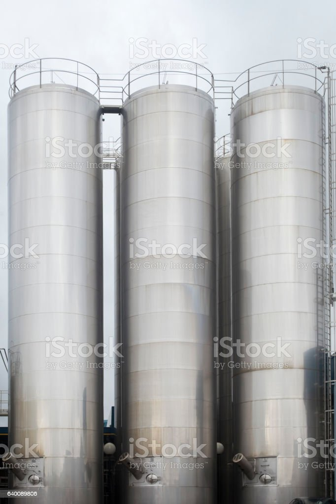 Stainless Steel storage tanks. stock photo