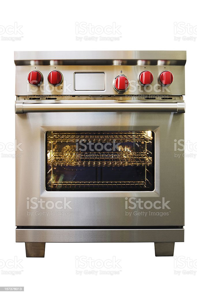 Stainless Steel Stove, Oven, Range Kitchen Appliance on White Background stock photo