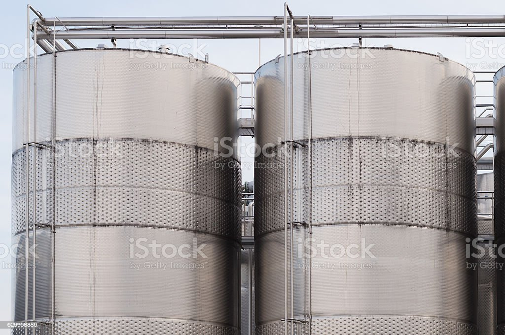 Stainless steel tanks for wine stock photo