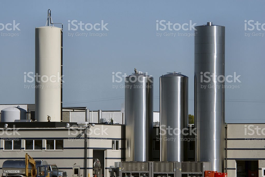 Stainless Steel Towers at Dairy Plant stock photo