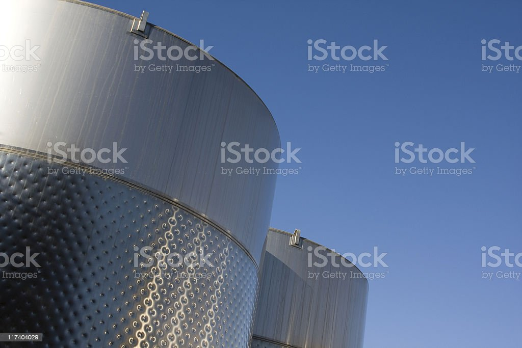 Stainless Steel Wine Blending Tanks, Winery, Vinification, Alcoholic Beverage royalty-free stock photo
