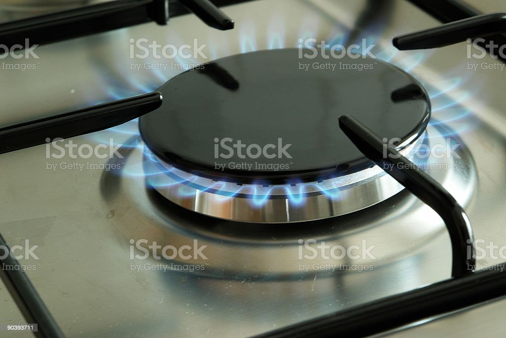Stainless stove stock photo