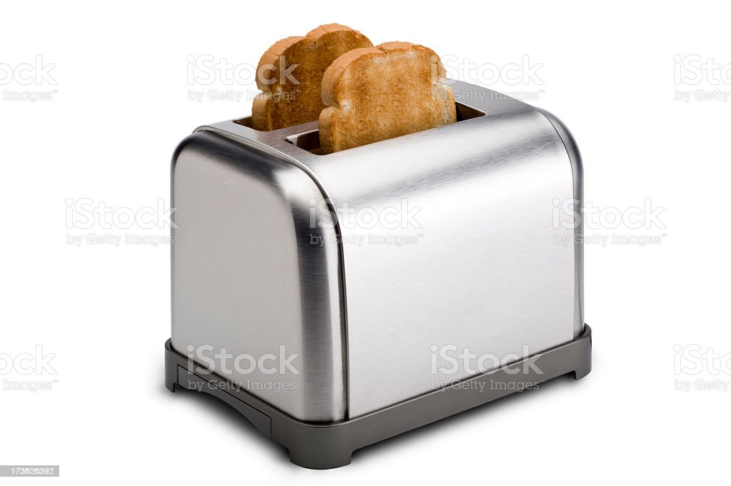 Stainless Toaster with Toast stock photo