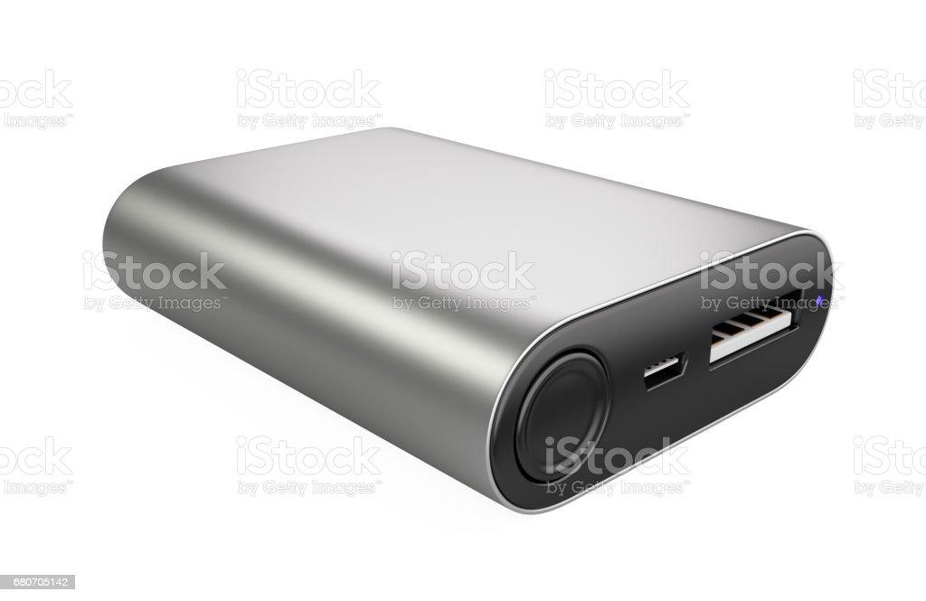 Stainless USB powerbank. 3d illustration stock photo