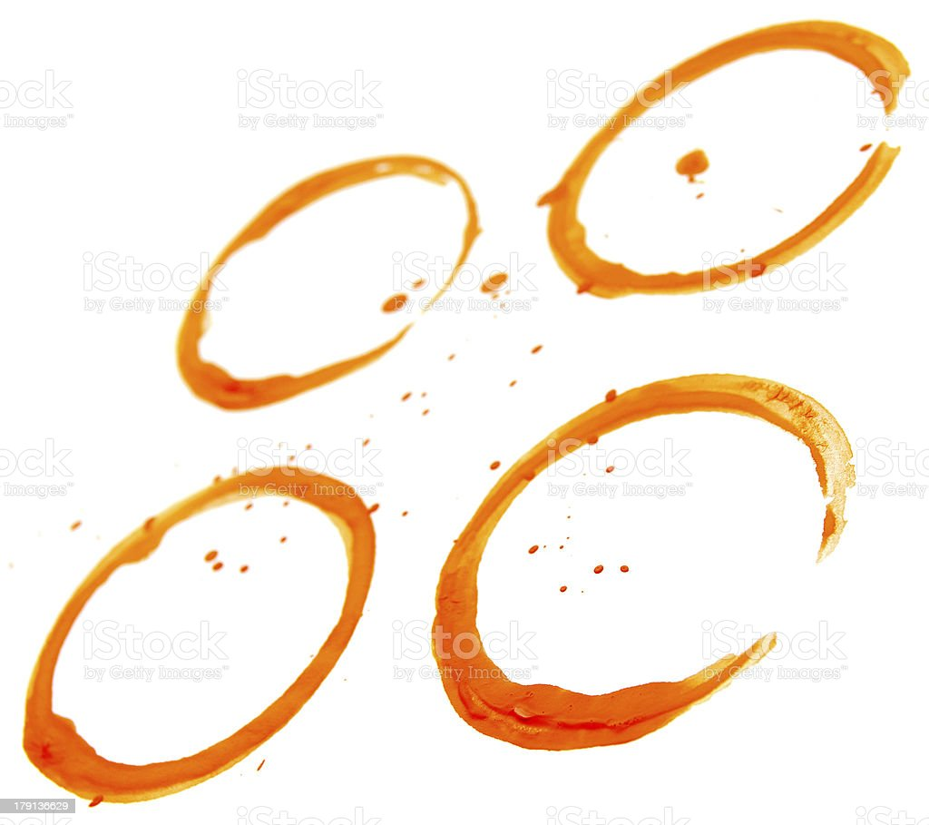 Stains from cup (coffee) . On a white background. royalty-free stock photo