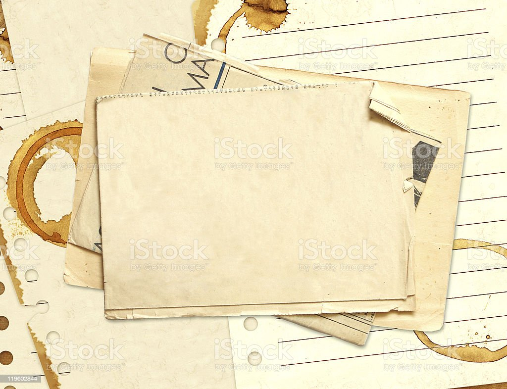 Stains of coffee on sheets paper royalty-free stock photo