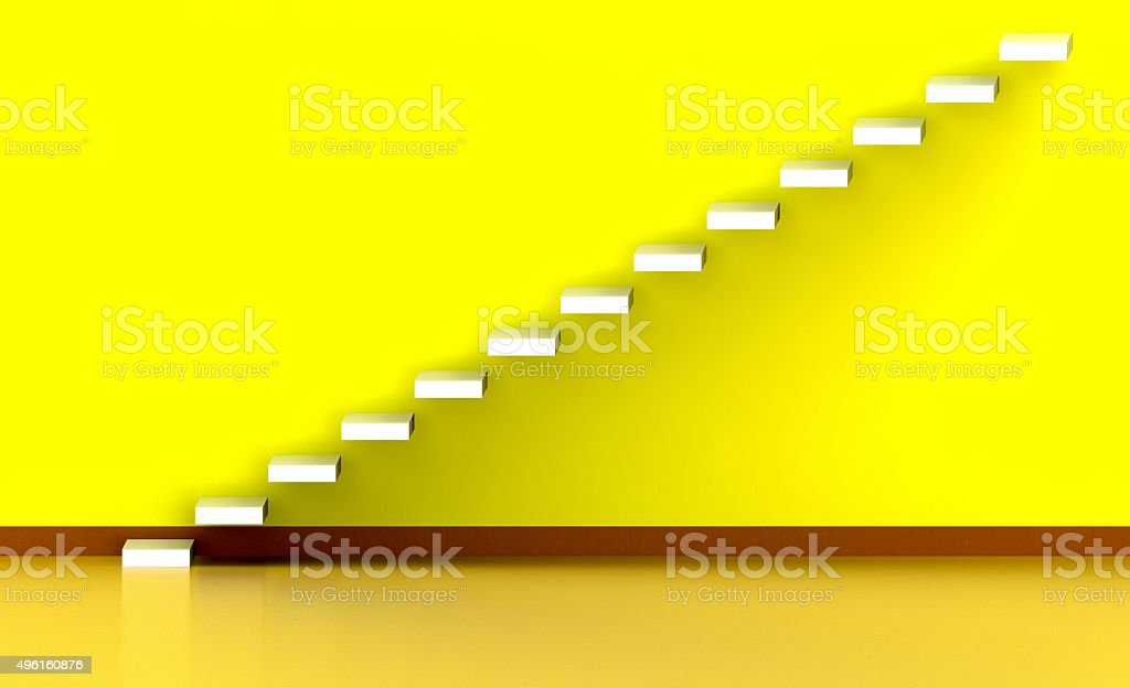 Stair 3d illustration with wooden floor stock photo