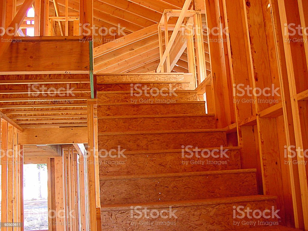 Stair framing and carpentry work stock photo