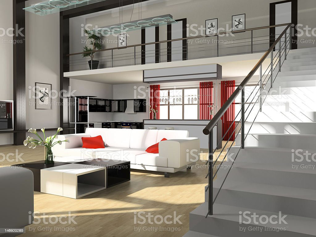 Stair in a drawing room royalty-free stock photo