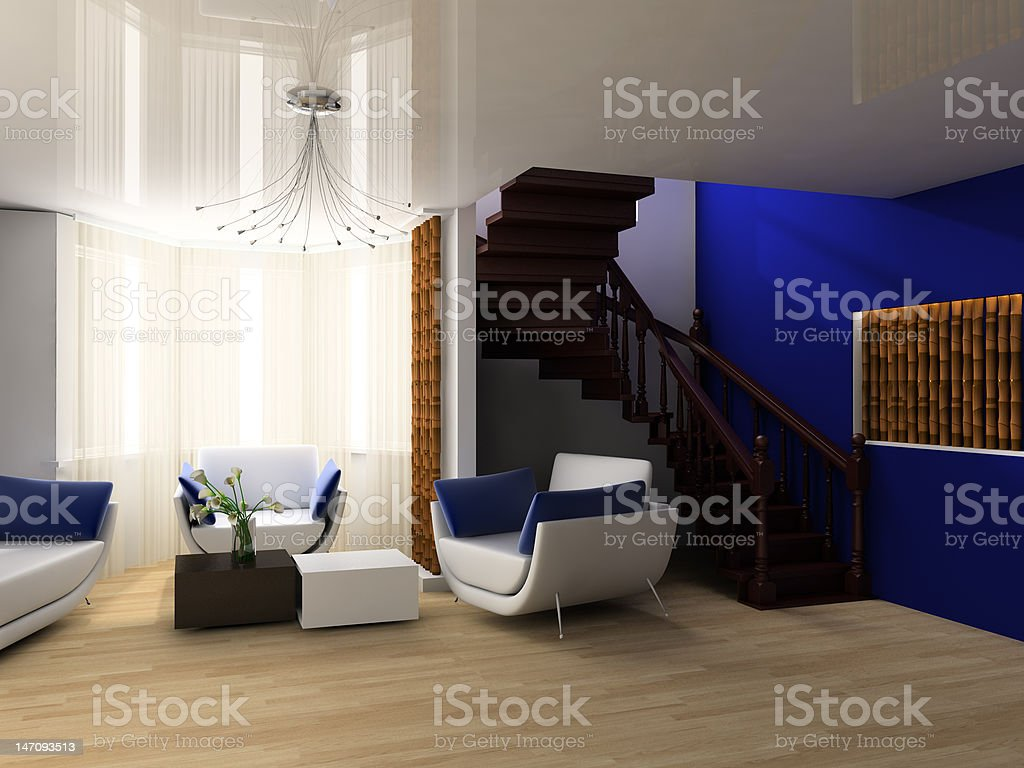 Stair in a drawing room stock photo