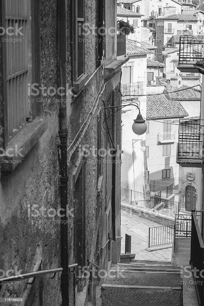Stair in Scanno, Italy stock photo