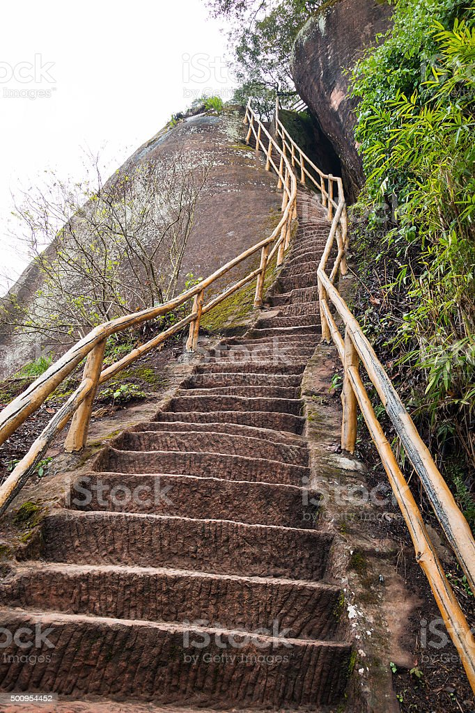 Stair on mountain stock photo