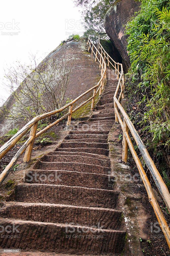 Stair on mountain stock photo