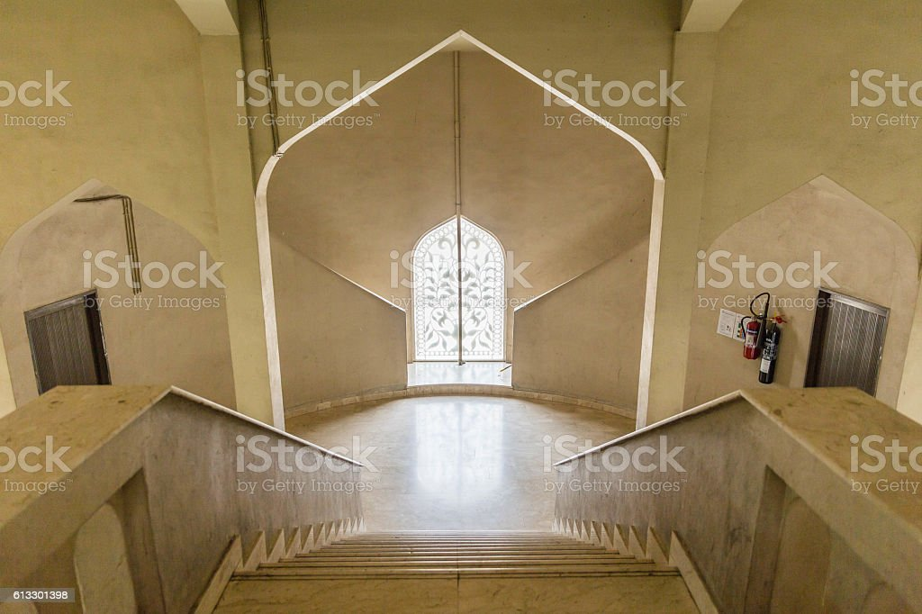 Stair to the Arabic Style Window with Sunlight. stock photo