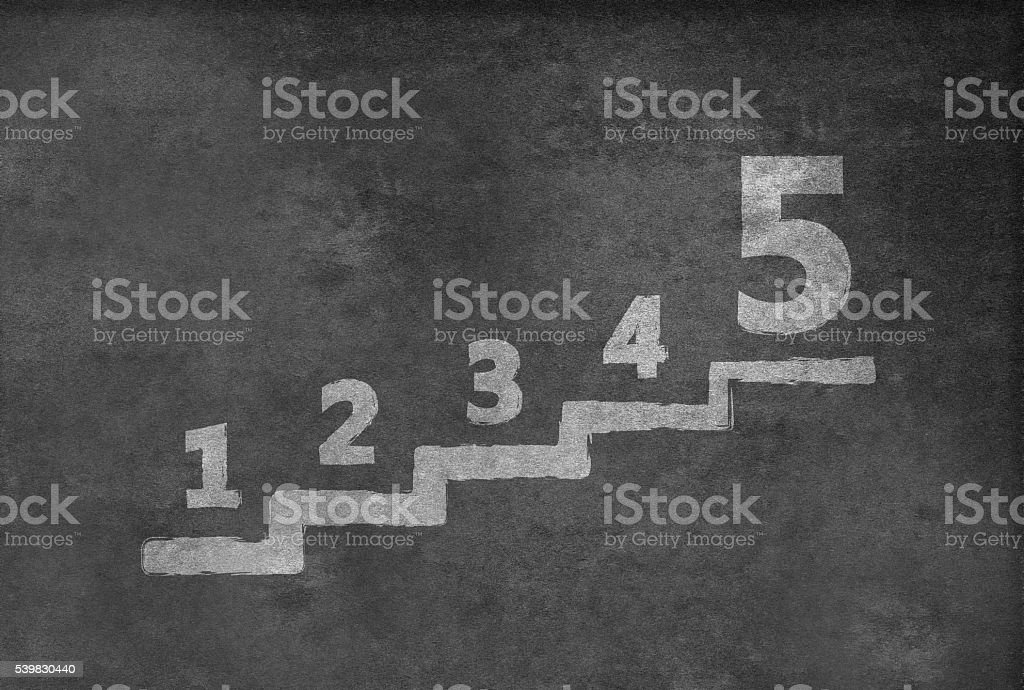 Stair with number one to five stock photo
