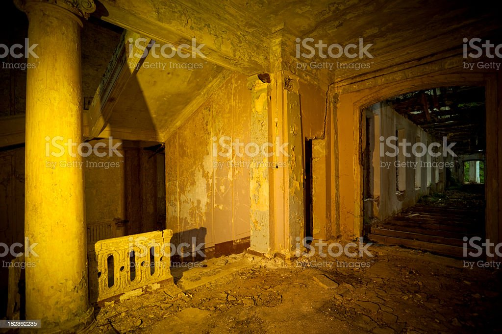 Staircase and corridor in abandoned house stock photo