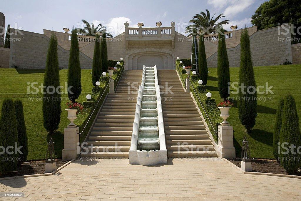 Staircase and fountain at Baha'i Gardens Haifa royalty-free stock photo