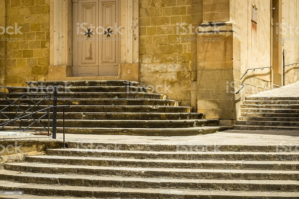 Staircase at St. Lawrence's Church, Birgu, Malta. stock photo