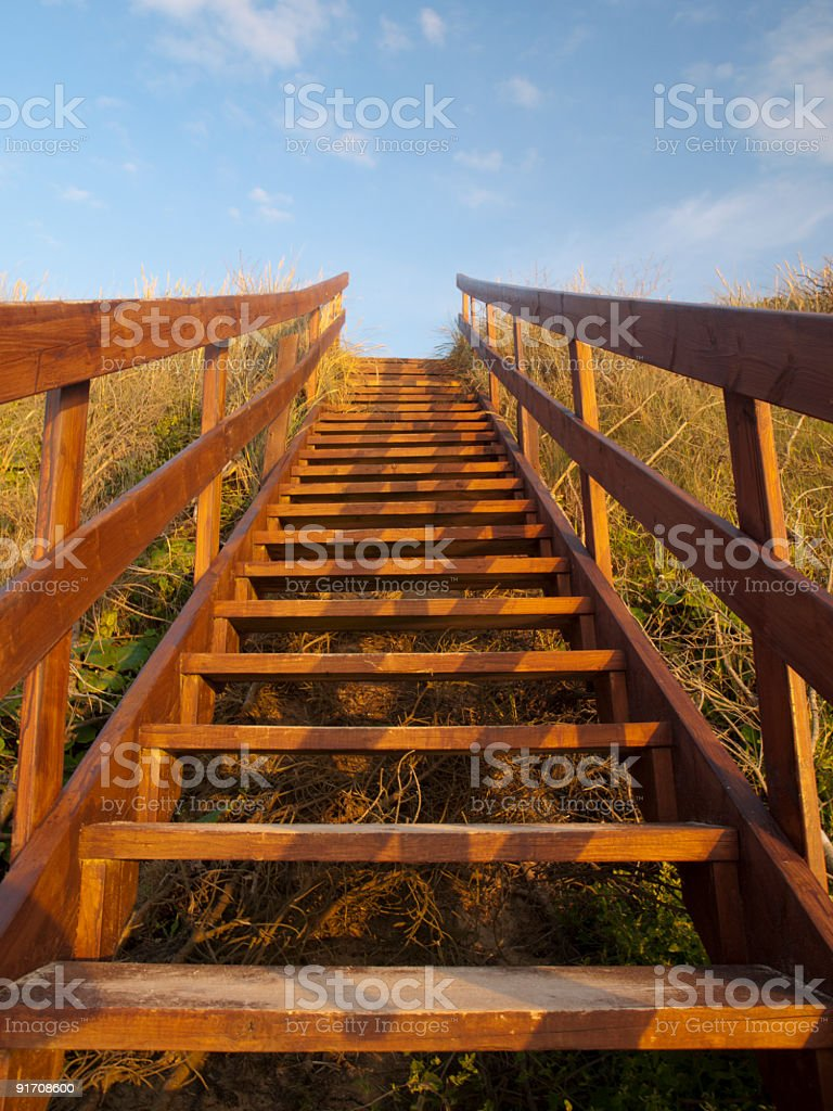 Staircase at sunset stock photo