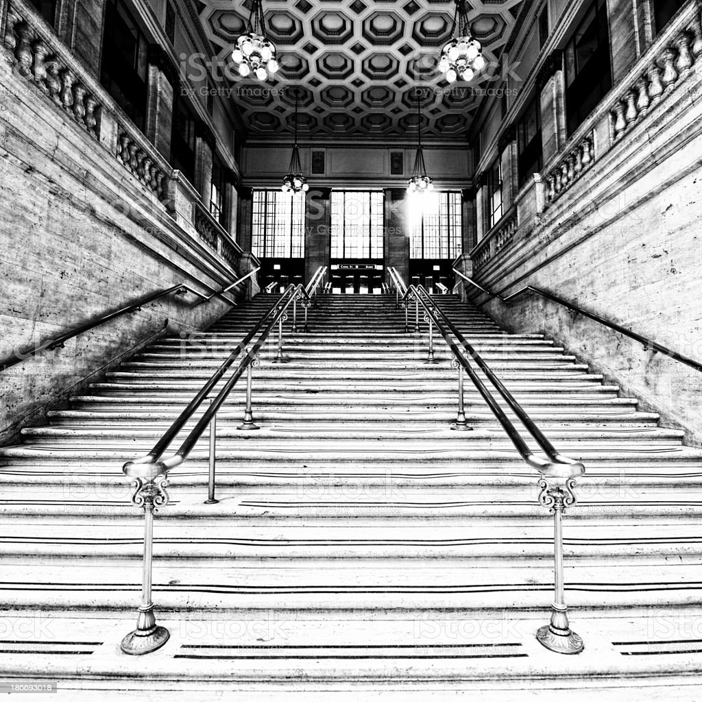 Staircase, Chicago. Black And White stock photo