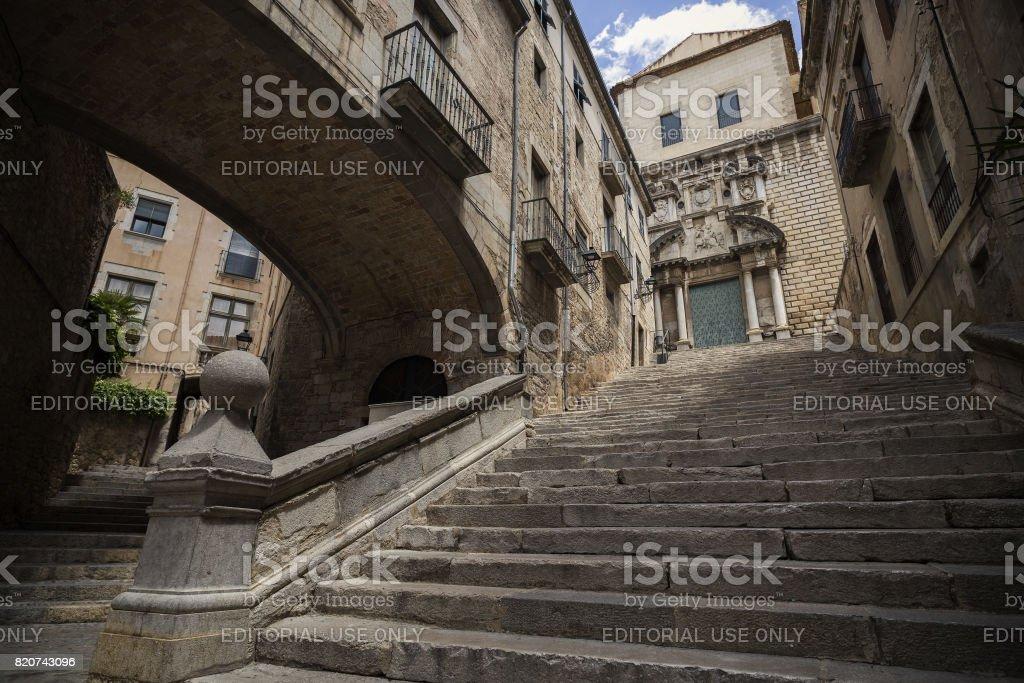 Staircase church arch stock photo