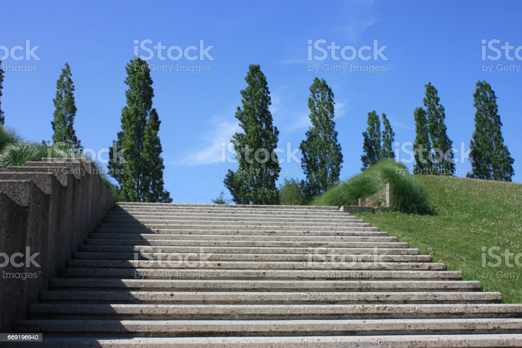 Escalier - Marches en béton - Parc public bordé de peupliers stock photo