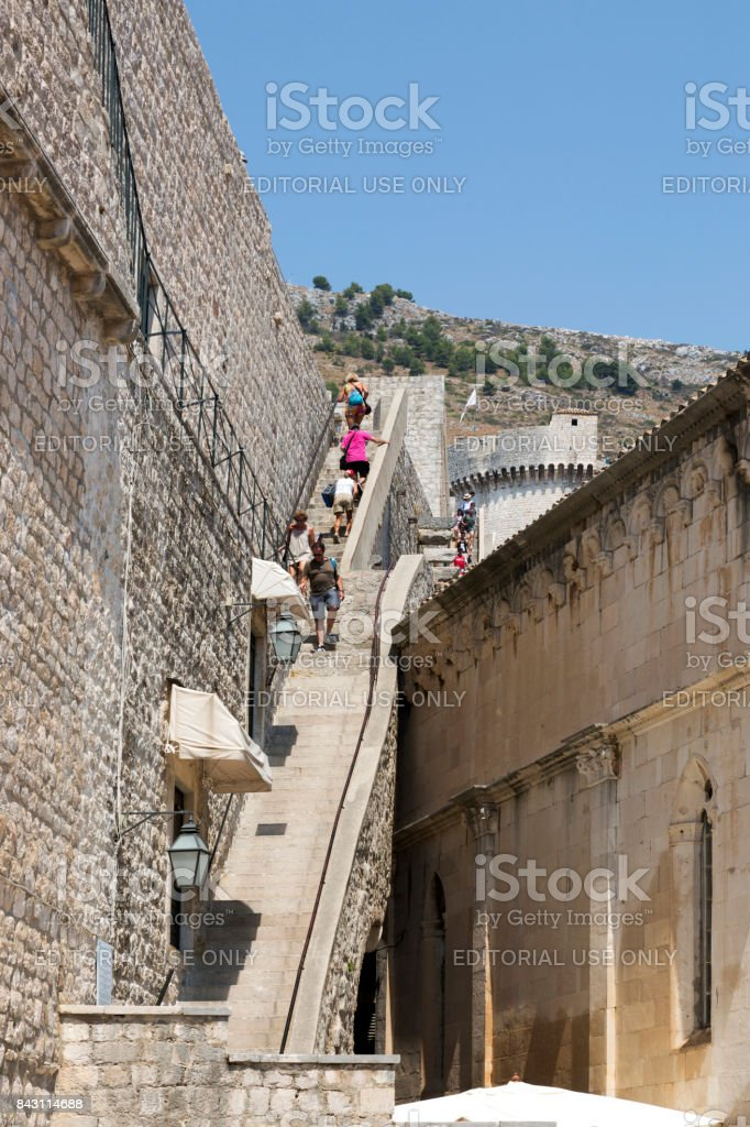 Staircase for ascent to the fortress wall in Dubrovnik, Croatia. stock photo