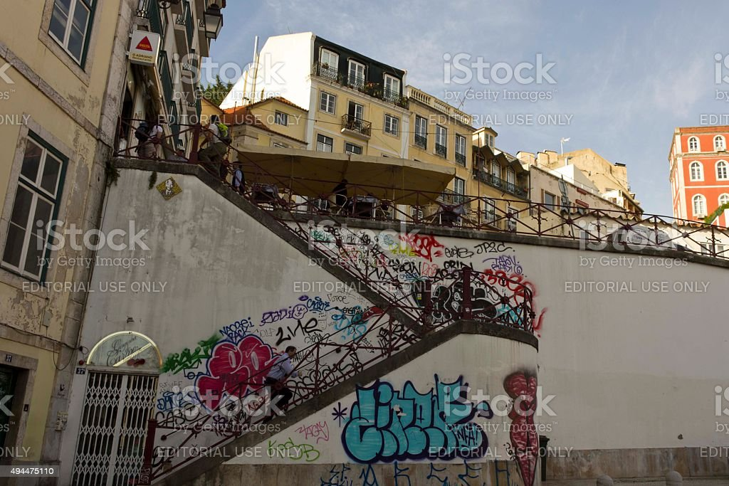 Staircase from Rossio Station to Calcada do Duque stock photo