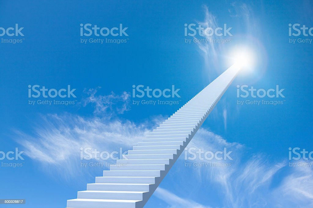 Staircase going up to the sky, moving up to success stock photo