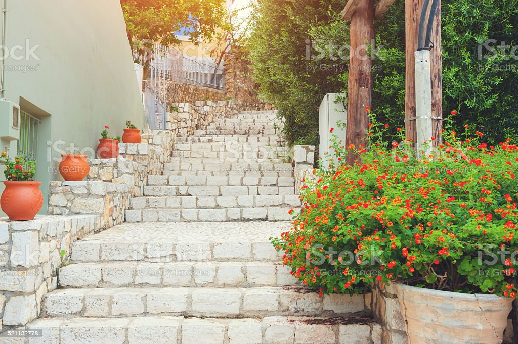 Staircase in Greece stock photo