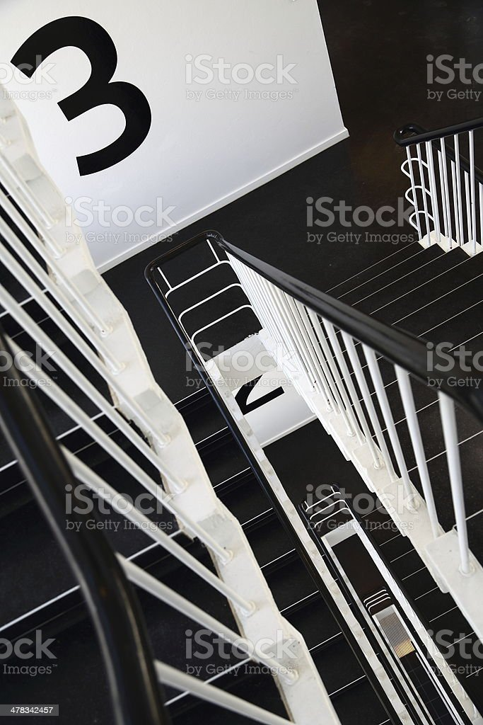 Staircase in modern office building 3 - Third floor royalty-free stock photo