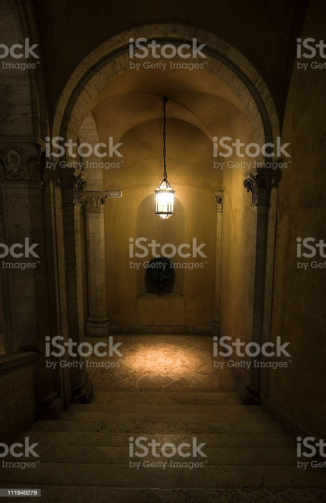 Staircase in old palace - Rome, Italy royalty-free stock photo