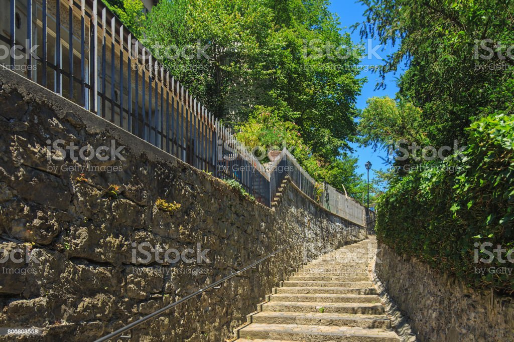 Staircase in the old town of city of Thun in Switzerland stock photo