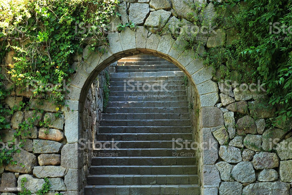Staircase in the park Monjuic stock photo