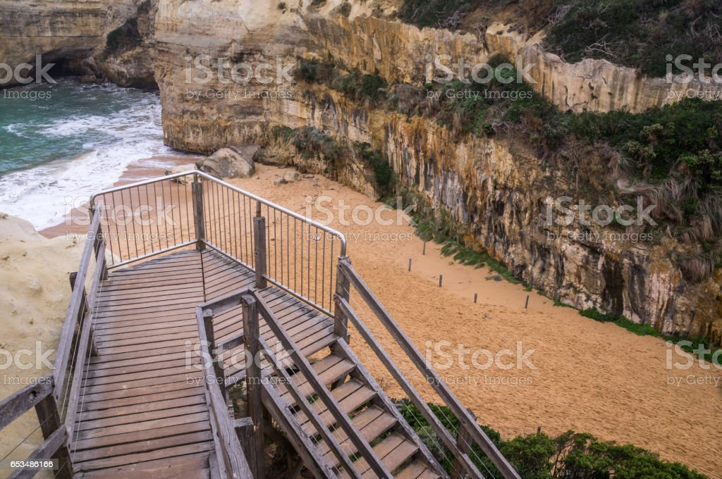 Staircase leading to beach on Great Ocean Road, Victoria, Australia stock photo
