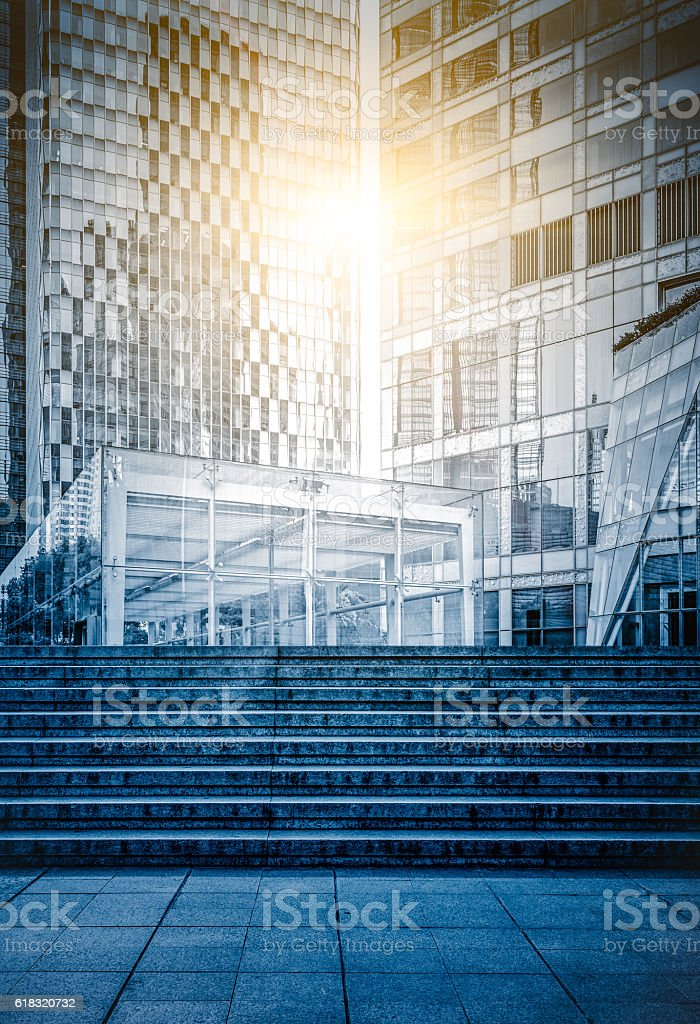 Staircase Leading Towards modern buildings stock photo