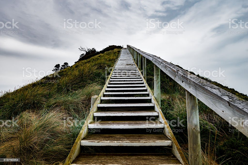 Staircase Leading up Dunes to Truganini Lookout, Bruny Island, Tasmania. stock photo