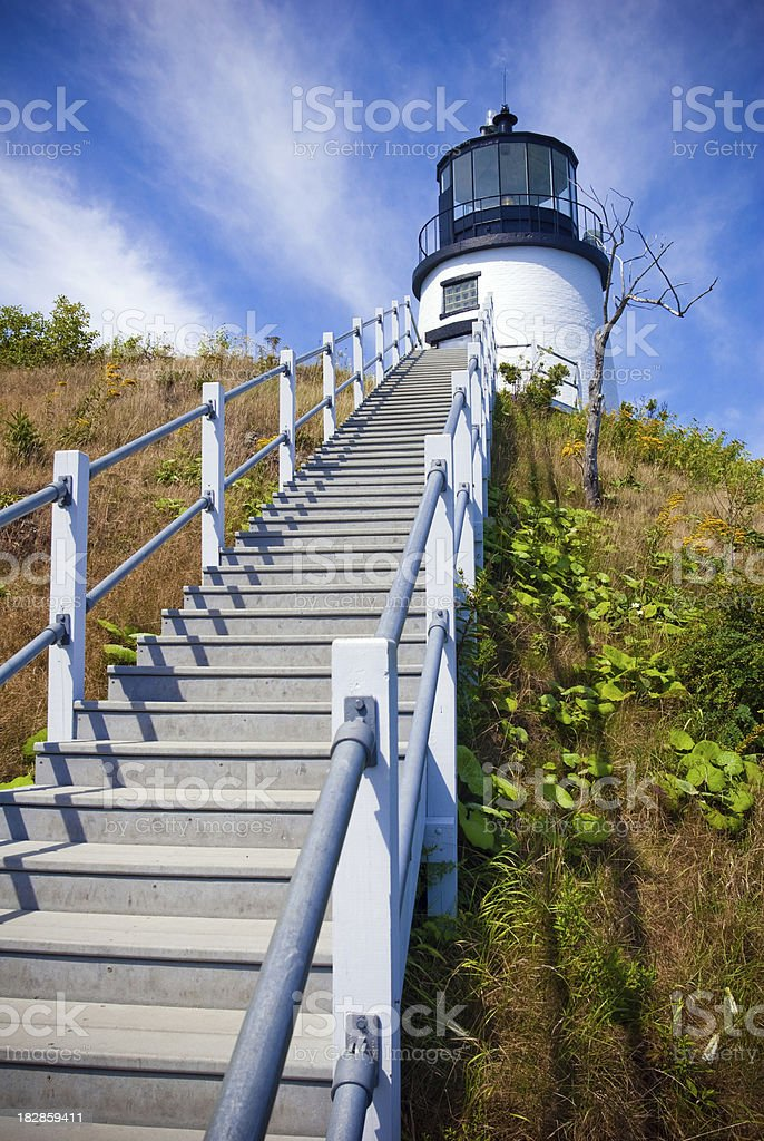 Staircase leading up to Owl's Head Light in Maine stock photo