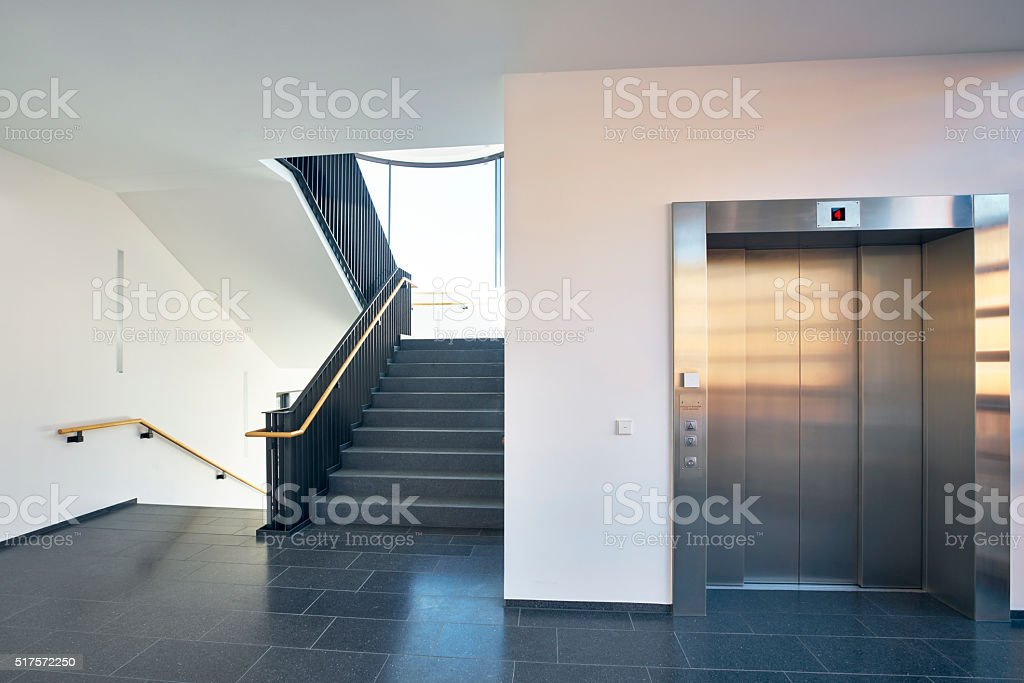 Staircase modern building window lift stock photo
