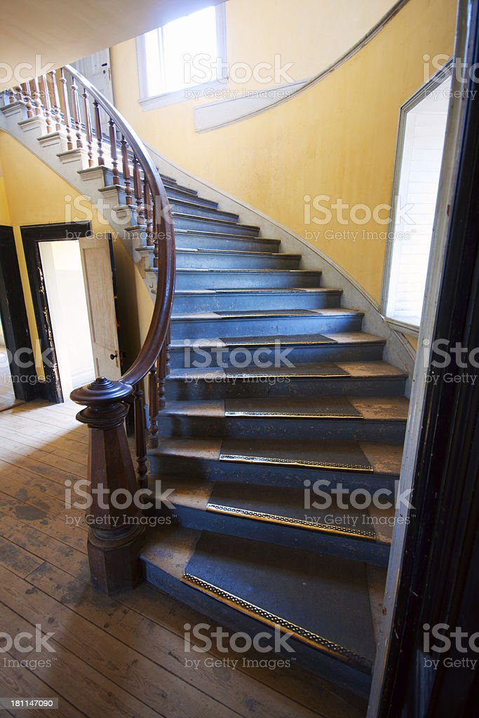 Staircase of  Hotel Meade in Bannack Montana Ghost Town stock photo