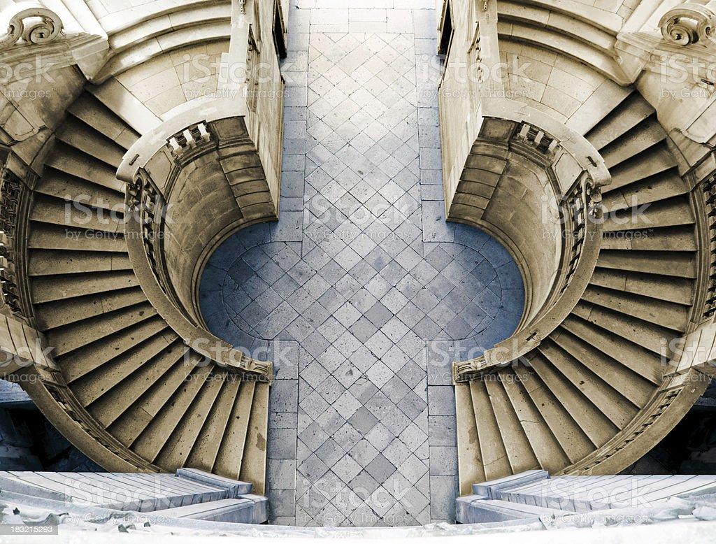 A staircase of the Certosa di San Lorenzo, Padula royalty-free stock photo