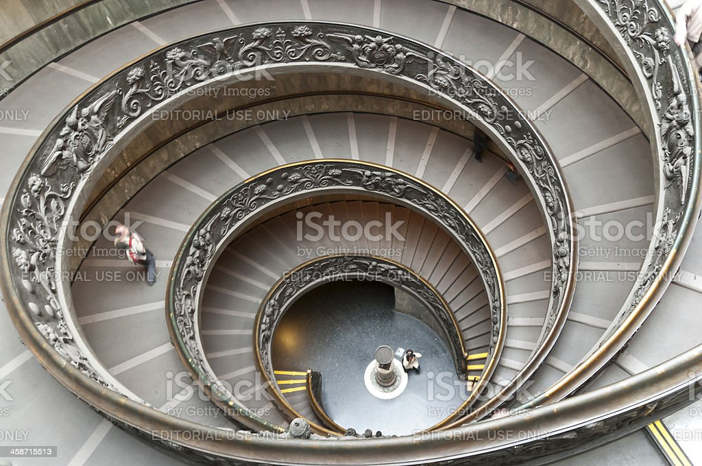 Staircase of the Vatican Museums stock photo