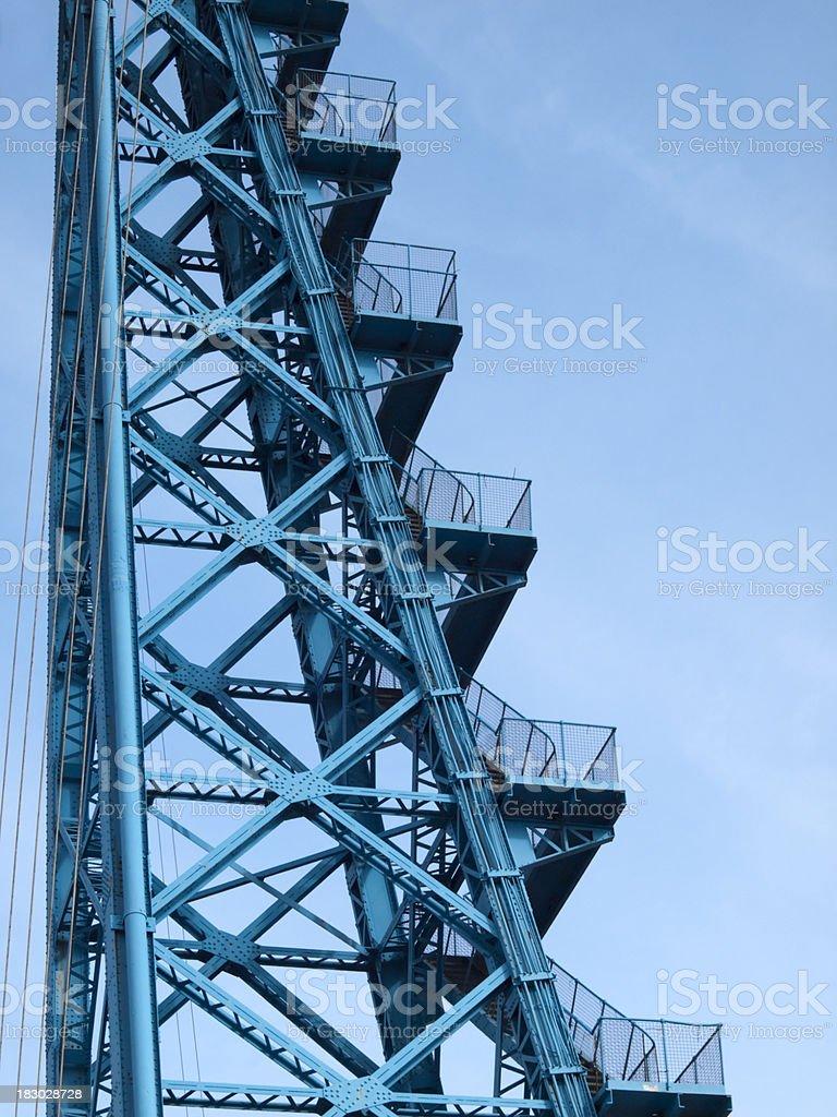 Staircase on the Transporter Bridge, Teesside stock photo