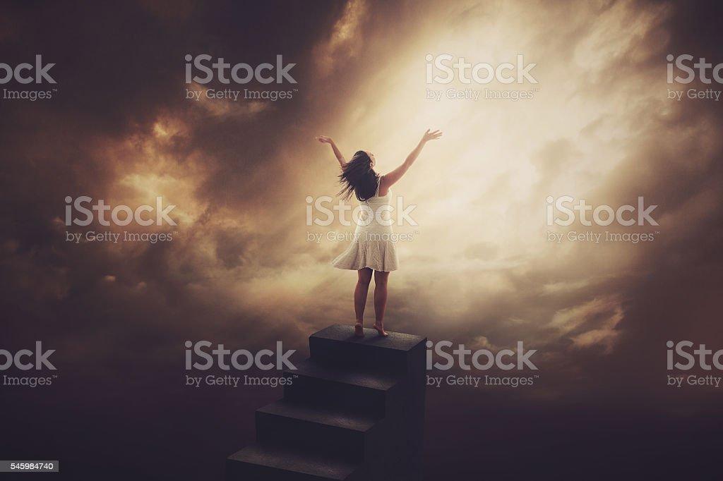 Staircase praise stock photo